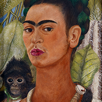 """Self-Portrait with Monkey,"" 1938, Frida Kahlo, Mexican; oil on masonite. Collection Albright-Knox Art Gallery, Buffalo, New York. © Banco de Mexico Diego Rivera Frida Kahlo Museums Trust, D.F. / Artists Rights Society (ARS), New York."