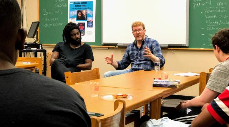 _All American Boys_ authors Jason Reynolds and Brendan Kiely meet with High School students on Monday_ October 1.