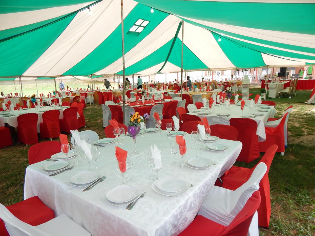 Inside one of our large tents