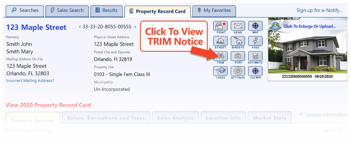 Interactive TRIM Notice - Property Record Card
