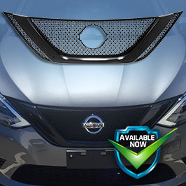 GI466 (Chrome) GI466BLK (Black) CCI Grille Overlays  16-19 Nissan Sentra * Attaches via 3M Tape