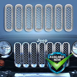 GI414  CCI Grille Overlays  07-18 Jeep Wrangler * Attaches via 3M Tape