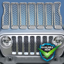 GI490 (Chrome) GI490BLK (Black) CCI Grille Overlays  18-19 Jeep Wrangler JL  * Attaches via 3M Tape
