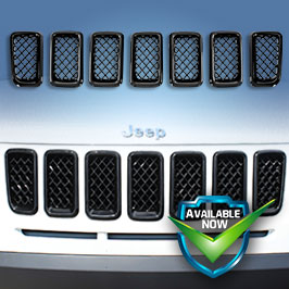 GI422 (Chrome) GI422BLK (Black) CCI Grille Overlays 11-19 Jeep Compass * Attaches via 3M Tape