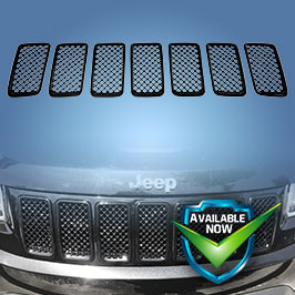 GI403BLK CCI Grille Overlays 14-16 Jeep Cherokee * Attaches via 3M Tape