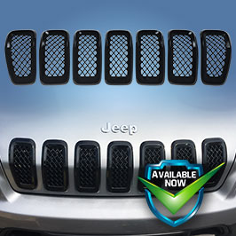 GI473 (Chrome) GI473BLK (Black) CCI Grille Overlays  14-19 Jeep Cherokee * Attaches via 3M Tape