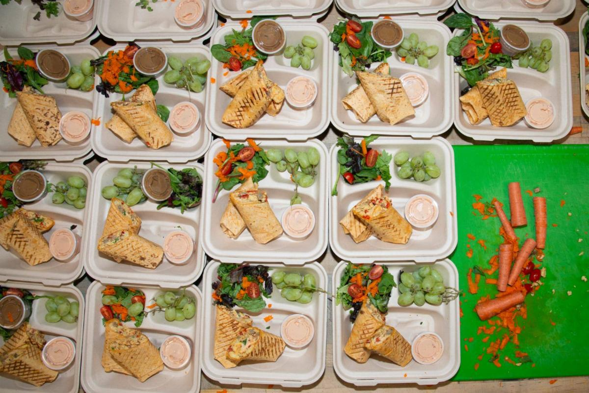 Meals packaged and ready to deliver.