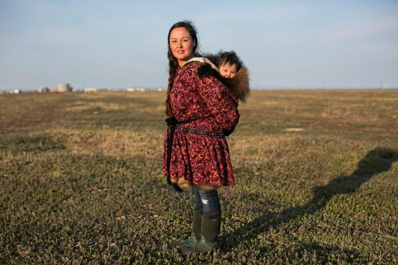 Native Inupiaq Eskimo woman and her son in the Arctic