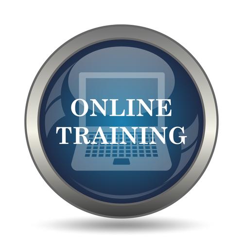 Online training icon. Internet button on white background.