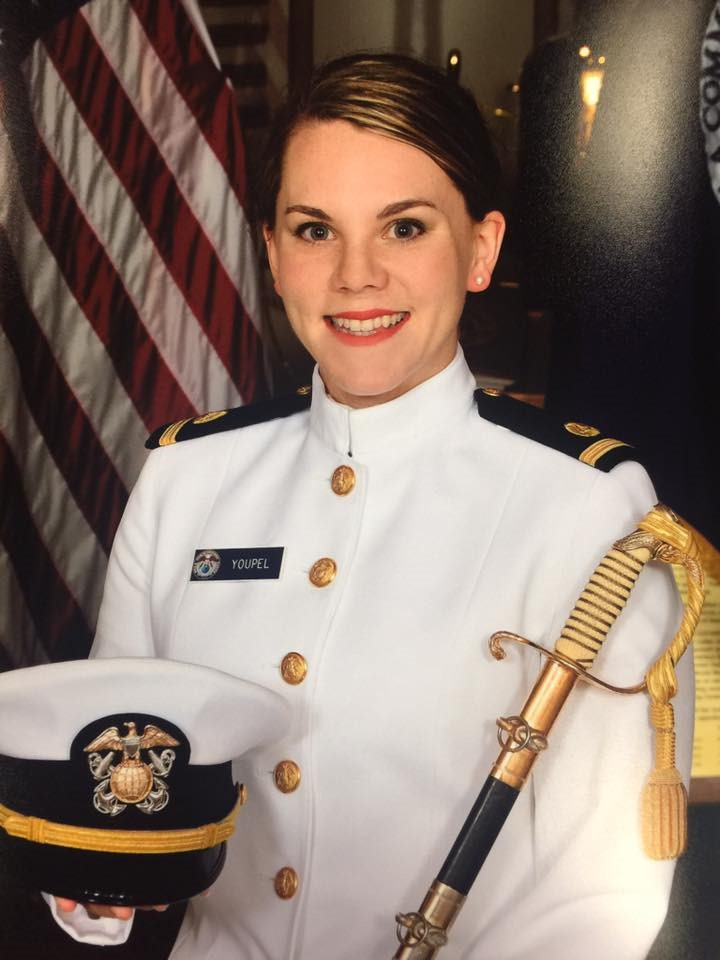 Photo of Mary Youpel in white military dress