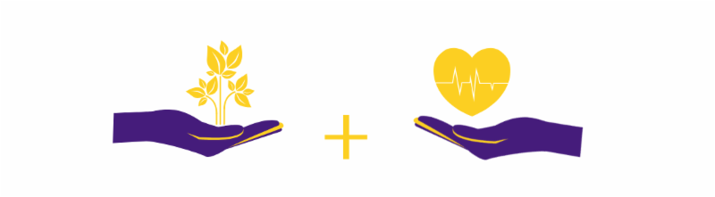 Banner graphic of two hands, one holding a plant and the other holding a heart. All are in LSU purple and gold.