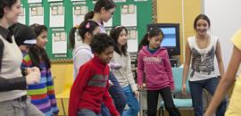 Intermediate students dancing