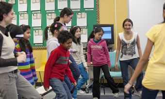 Intermediate students dancing