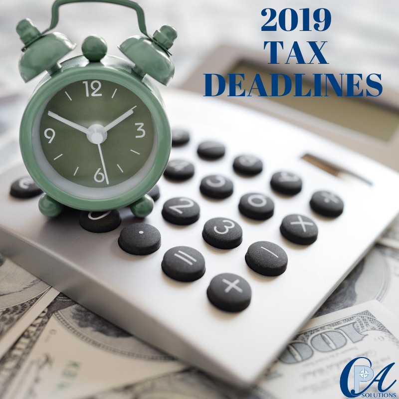2019 Tax Deadlines and Contribution Limits