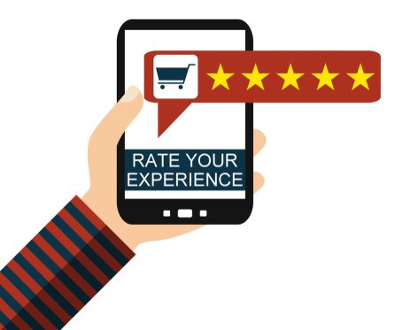 Hand holding Smartphone  Shop Review - Rate your Experience - Flat Design