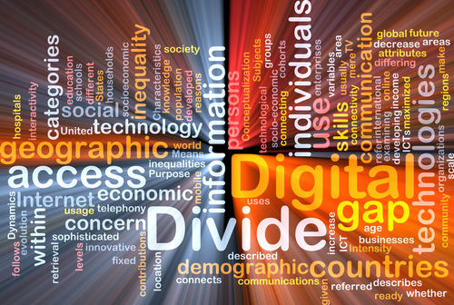 Background text pattern concept wordcloud illustration of digital divide glowing light