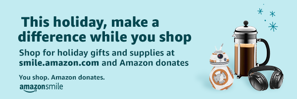 banner by amazon smile for the holiday with a coffee pot a robot and ear phones