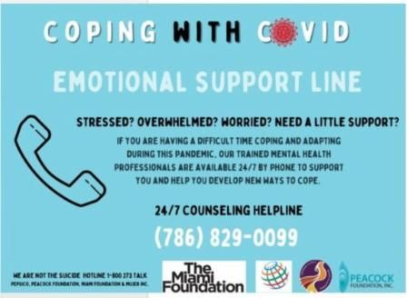 flyer from MUJER about coping with covid emotional support line