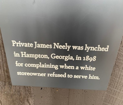 lynching inscription private james neely was lynched in hampton ga in 1898 for complaining when a white store owner refused to serve him