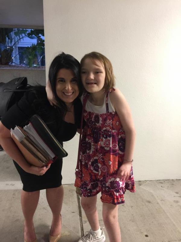 Lisa and Kailea standing after depositions.