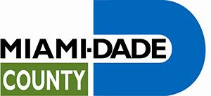 logo for miami dade county the words miami dade county with a blue semicircle at the end