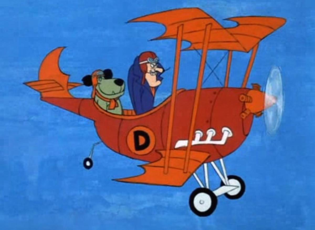 cartoon picture of muggsley and a man in an old fashioned red airplane
