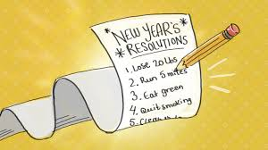 clip art of a new years resolution list with a pencil