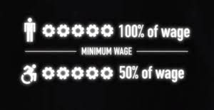 image of a person and 100% of wage then a line that says minimum wage and then a wheelchair image and 50% of wage.