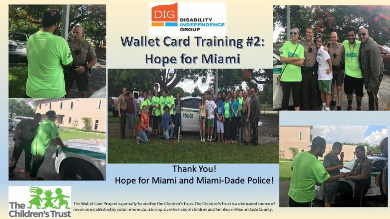 5 picture collage from police training with HOPE for Miami students and the Miami-Dade County Police Department.