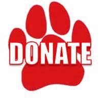 red puppy paw with the word donate in the middle in white letters