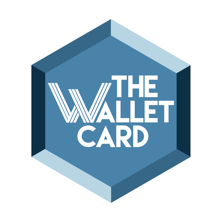 the wallet card words in a diamond shape blue figure