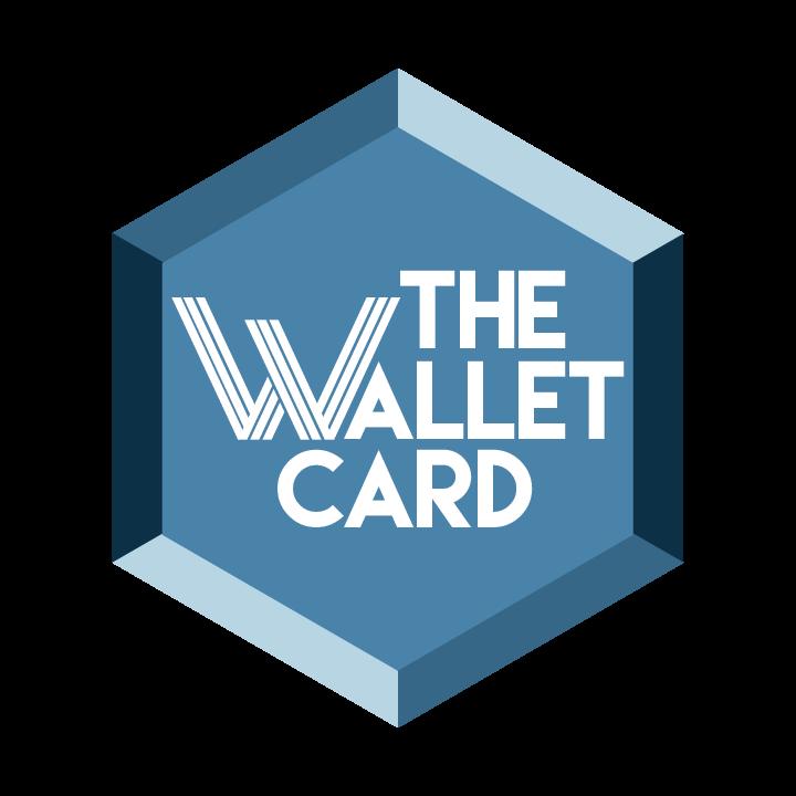 the wallet card words in a diamond shape blue figure