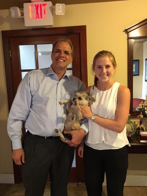 Matt and Intern Maddy K. with Murphee the dog