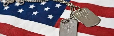 American Flag with a pair of military dog tags on the flag.