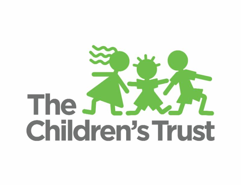 the children's trust logo.  Three children standing next to the words the children's trust