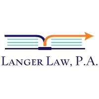 logo with an open book with an arrow pointing to the right and the words Langer Law PA