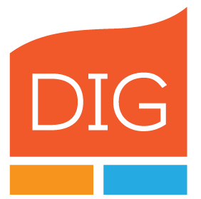 DIG logo with orange shape with DIG in the middle and an orange and a blue rectangle below