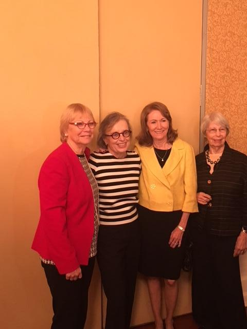 Judge Lederman at her goodbye breakfast standing with Sharon Langer Berta Blecke and Judge Gladstones wife