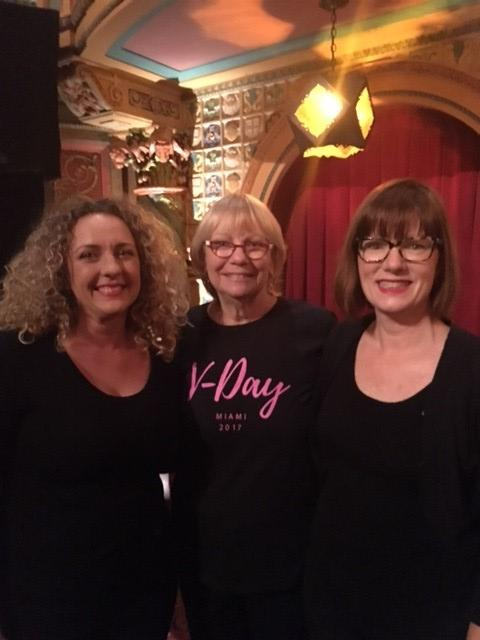 Sharon standing with the amazing interpreters that were at the Vagina Monologues.