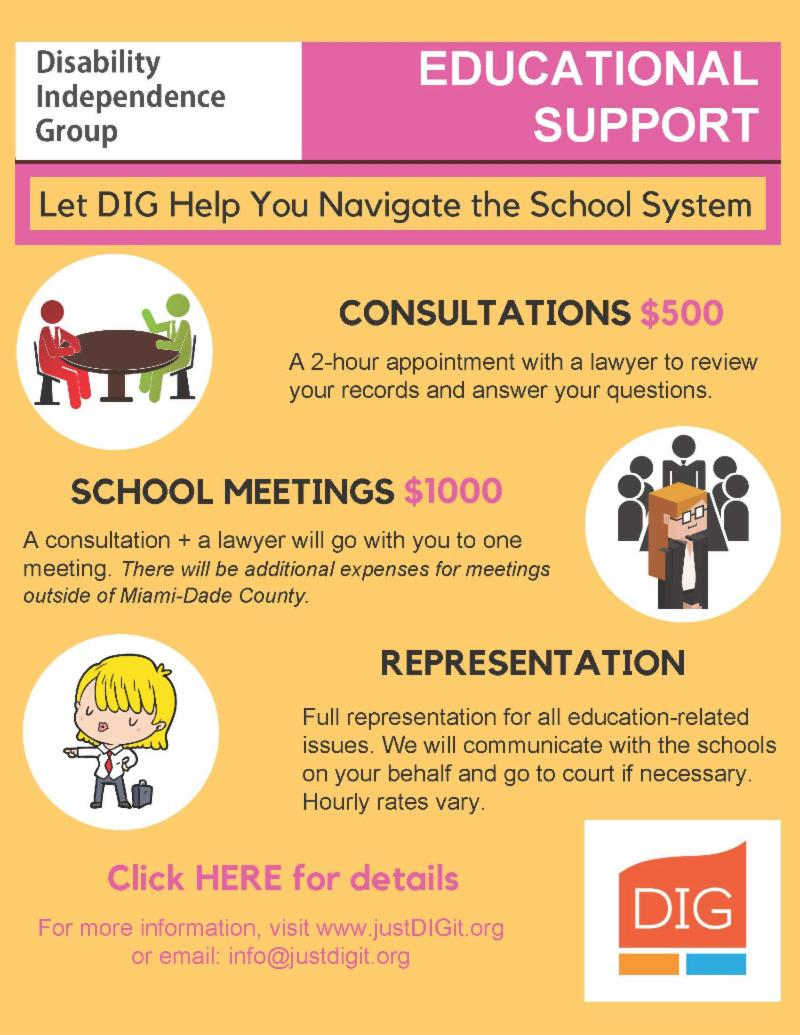 educational support flyer that lists prices for consultations school meetings and legal representation