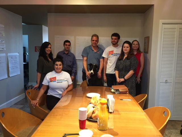 DIG staff and lucy having bagel breakfast to say goodbye to intern Kelly