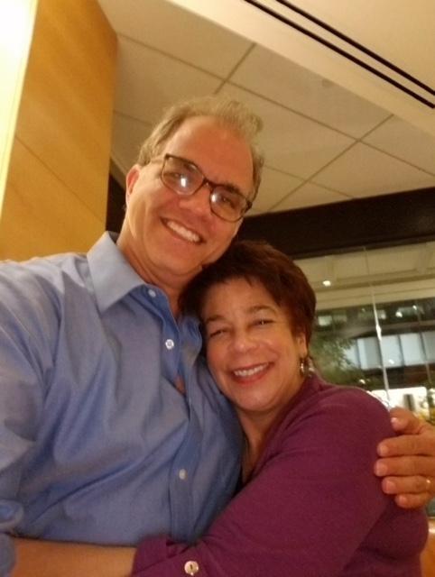 Alison Bethel and Matthew Dietz embracing