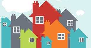 clip art of different colored houses