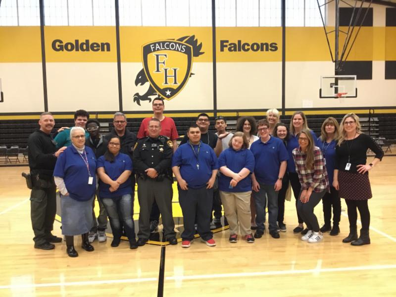 Students from South Western City School District standing with Deputies from Franklin County Sheriff's Office