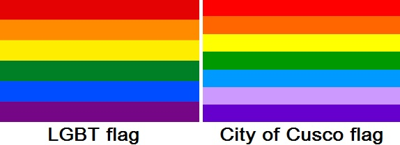 LGBT Flag next to the City of Cusco flag both have horizontal rainbow colored stripes red orange yellow green blue and purple except the cusco flag has two strips of purple