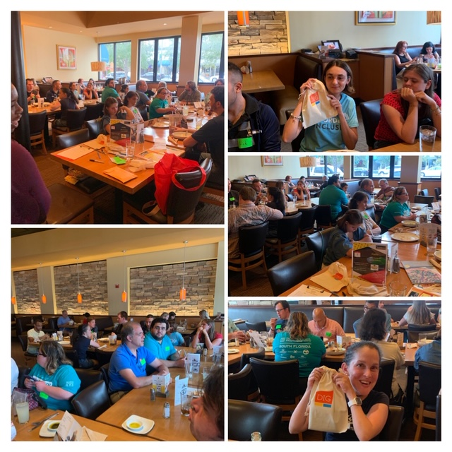 collage of pictures from the June supper social club with all the participants sitting at tables eating dinner