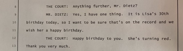 court transcript of lisa celebrating her 30th birthday on the record