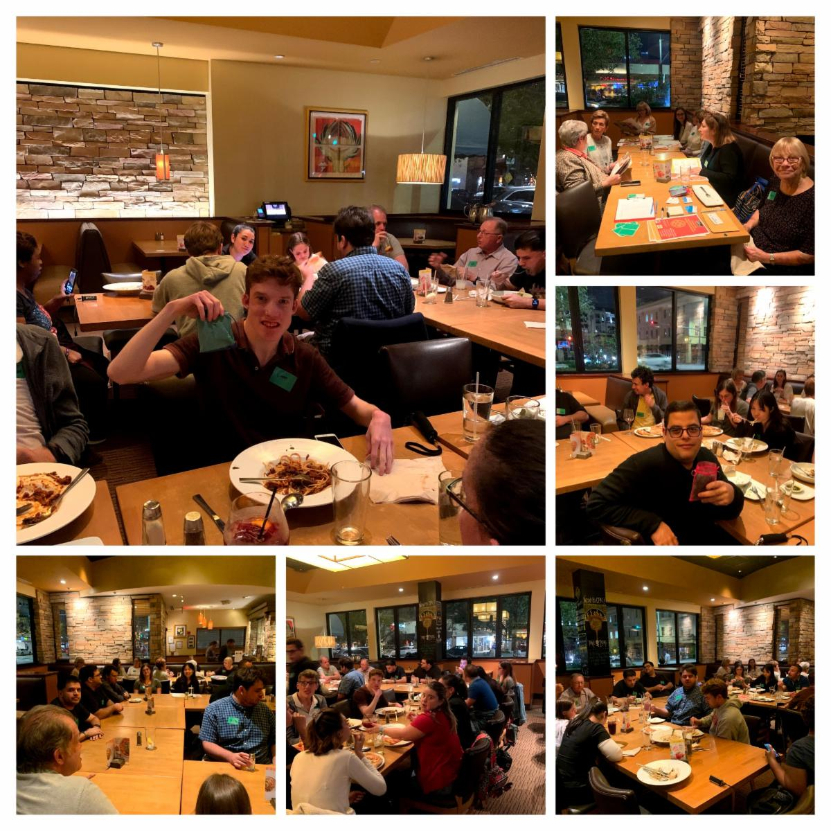 collage of pictures from supper social dinner in february