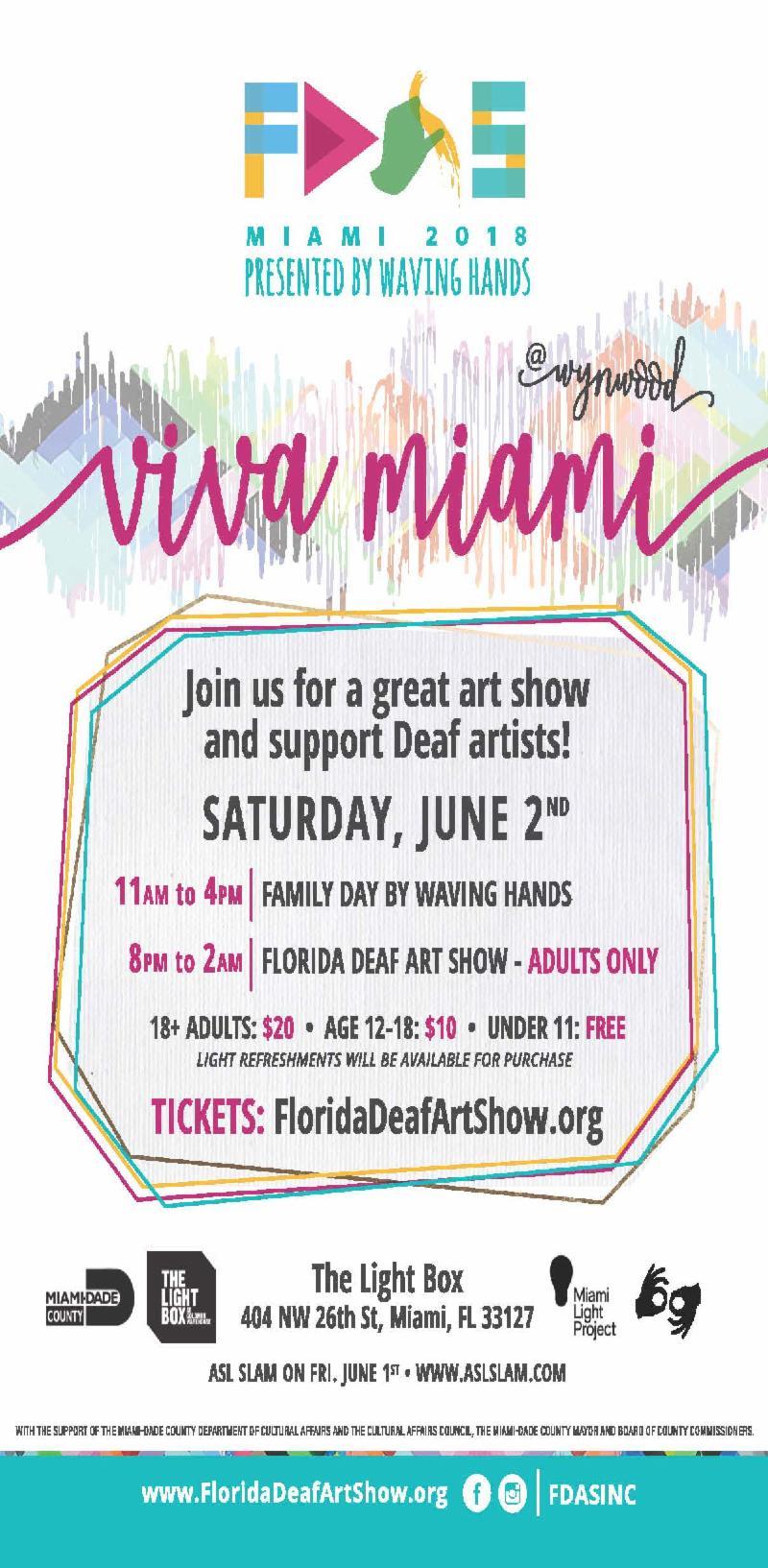 Flyer for the Florida deaf art show on june 2nd