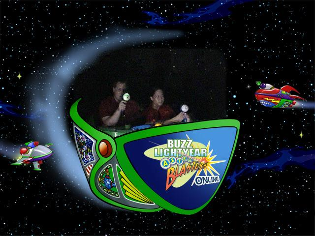 Jessica and her husband on the Buzz Lightyear Ride